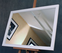 Прямоугольное зеркало в современном белом деревянном багете производства Италия