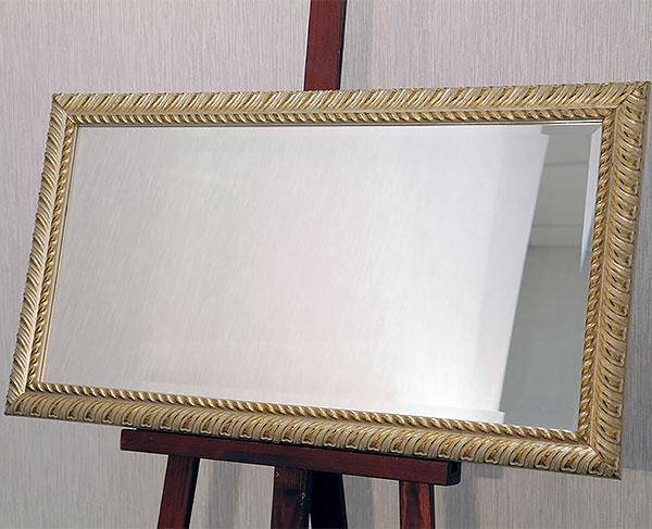 Серебряное зеркало в состаренном золотом багете