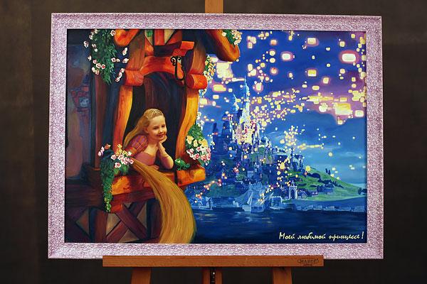 Коллаж маслом с девочкой-принцессой в раме