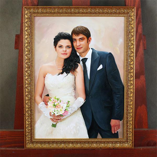 Свадебный портрет маслом в раме