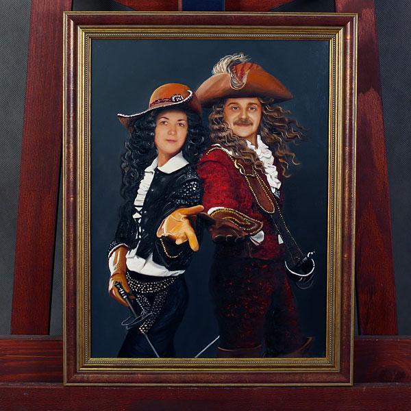 Парный коллаж с двумя мушкетерами маслом в раме на холсте