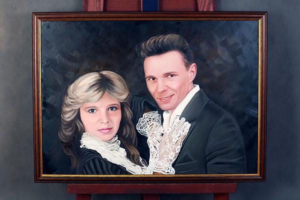 Портрет маслом с молодой парой в костюмах