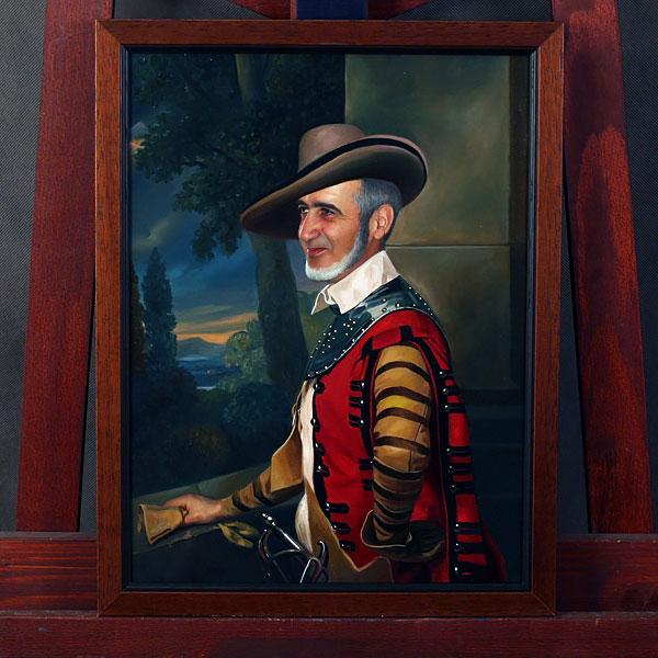 Коллаж по фото мужчины в костюме и шляпе