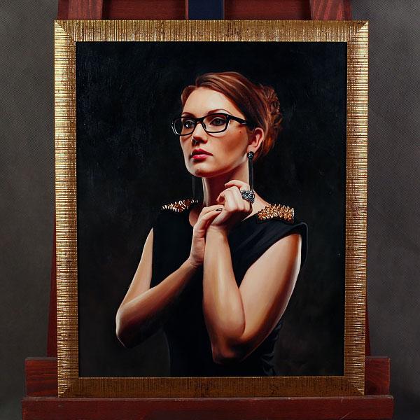 Портрет по фото маслом женщины в очках