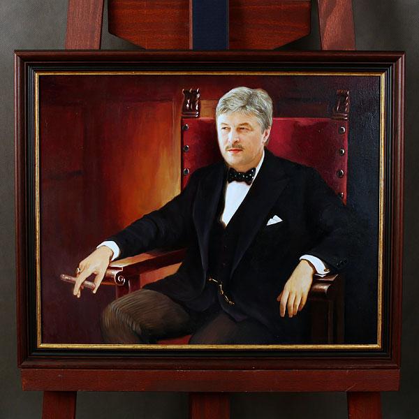 Коллаж мужчины с сигарой в кресле маслом в раме