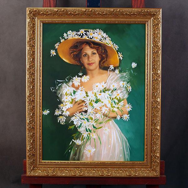 Портрет женщины с ромашками маслом в раме