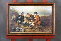 """Коллаж по картине Перова """"Охотники на привале"""" в раме на холсте"""