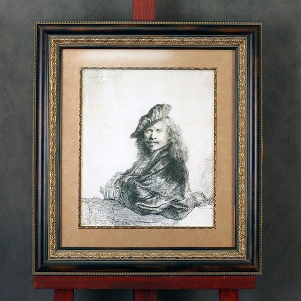 Серия гравюр в деревянных рамах с паспарту и слипами под стеклом