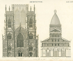 Постер Architecture. York Cathedral, Pisa Cathedral